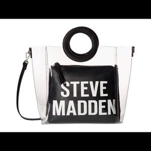 Steve Madden black and clear handbag